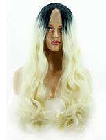 Недорогие -Синтетические кружевные передние парики Матовое стекло Волнистые Стиль Глубокое разделение Лента спереди Парик Золотистый Черный и золотой Искусственные волосы 14-24 дюймовый Жен. Классический Sexy
