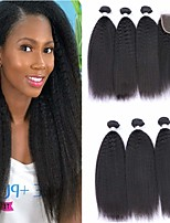Недорогие -3 комплекта с закрытием Бразильские волосы Естественные прямые Натуральные волосы Необработанные натуральные волосы Головные уборы Человека ткет Волосы Удлинитель 8-20 дюймовый Естественный цвет