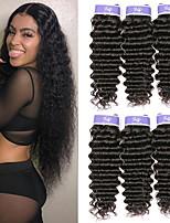 Недорогие -3 Связки Малазийские волосы Глубокий курчавый человеческие волосы Remy 100% Remy Hair Weave Bundles Человека ткет Волосы Удлинитель Пучок волос 8-28 дюймовый Естественный цвет Ткет человеческих волос