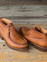 Недорогие -Муж. Официальная обувь Кожа Наступила зима Ботинки Сапоги до середины икры Коричневый / Кофейный