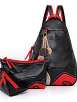 cheap -Women's Zipper PU Bag Set Color Block 3 Pcs Purse Set Black