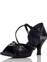Недорогие -Жен. Танцевальная обувь Сатин Обувь для латины Планка На каблуках Кубинский каблук Персонализируемая Черный / Выступление