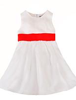 Недорогие -Дети Дети (1-4 лет) Девочки Активный Классический Однотонный Бант Без рукавов До колена Платье Белый