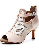 """Недорогие -Жен. Танцевальная обувь Шёлк / Искусственная кожа Обувь для латины На каблуках Каблук """"Клеш"""" Персонализируемая Телесный / Выступление / Кожа"""