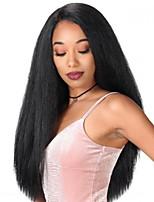 Недорогие -Парики из искусственных волос Афро Квинки Стиль Средняя часть Без шапочки-основы Парик Черный Черный Искусственные волосы 22 дюймовый Жен. Sexy Lady Черный Парик Длинные Парик из натуральных волос