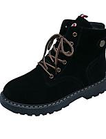 Недорогие -Жен. Ботинки На низком каблуке Круглый носок Замша Наступила зима Черный / Кофейный