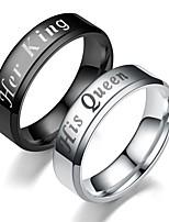 Недорогие -Для пары Кольца для пар Кольцо 1шт Черный Серебряный Нержавеющая сталь Круглый Винтаж Классический Мода обещание Бижутерия Корона