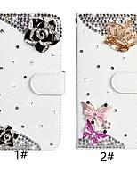 Недорогие -Кейс для Назначение SSamsung Galaxy Huawei Note 10 Кошелек / Бумажник для карт / Стразы Чехол Бабочка / Цветы Кожа PU