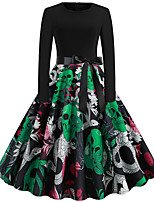 cheap -Skeleton / Skull Dress Adults Women's Vacation Dress Halloween Halloween Festival / Holiday Polyster Black Women's Easy Carnival Costumes