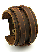 Недорогие -кожаная манжета двойной широкий браслет веревка браслеты коричневый для мужчин мода мужчина браслет унисекс ювелирные изделия подарок длина 22-24 см ширина 4.4 см регулируемая длина