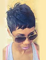 Недорогие -Человеческие волосы без парики Натуральные волосы Прямой / Естественный прямой Стрижка боб / Стрижка под мальчика / Стрижка каскад / Ассиметричная стрижка Стиль Жизнь / Cool / Удобный Черный Короткие