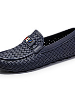 cheap -Men's Moccasin Rubber / PU Spring / Fall Loafers & Slip-Ons Walking Shoes Black / White / Blue