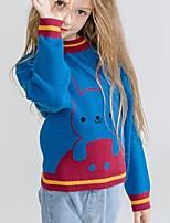 Недорогие -Дети Девочки Классический С принтом Длинный рукав Свитер / кардиган Синий