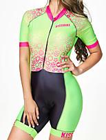 Недорогие -BOESTALK Жен. С короткими рукавами Костюм для триатлона Черный / зеленый В полоску Шестерня Велоспорт Дышащий Влагоотводящие Быстровысыхающий Анатомический дизайн Задний карман Виды спорта Спандекс