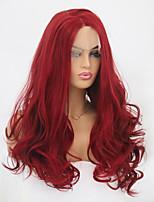Недорогие -Синтетические кружевные передние парики Волнистый Естественные волны Стиль Свободная часть Лента спереди Парик Темно-красный Искусственные волосы 8-12 дюймовый Жен. Мягкость Эластичный Женский Красный