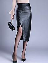 Недорогие -Жен. Большие размеры Полиуретановая Облегающий силуэт Подол Однотонный Черный M L XL