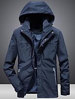 Недорогие -Муж. Повседневные Классический Обычная Куртка, Однотонный Капюшон Длинный рукав Полиэстер Черный / Синий US34 / UK34 / EU42 / US36 / UK36 / EU44 / US38 / UK38 / EU46