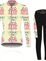 Недорогие -21Grams Фламинго Цветочные ботанический Жен. Длинный рукав Велокофты и лосины - Черный / желтый Велоспорт Наборы одежды Устойчивость к УФ Дышащий Влагоотводящие Виды спорта Зима Спандекс