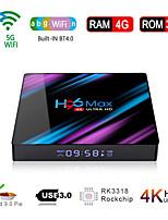 Недорогие -h96 max smart android 9.0 тв бокс rv3318 четырехъядерный 64 бит uhd 4k vp9 h.265 4 Гб / 64 Гб 2.4 г / 5 г wifi bt4.0 hd медиаплеер тв бокс