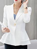 Недорогие -Жен. Блейзер, Однотонный Лацкан с тупым углом Полиэстер Розовый / Винный / Тёмно-синий