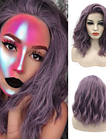 Недорогие -Синтетические кружевные передние парики Кудрявый Волнистый Rihanna Стиль Свободная часть Лента спереди Парик Бледно-лиловый Искусственные волосы 14inch Жен. Мягкость синтетический Легко туалетный