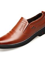 Недорогие -Муж. Кожаные ботинки Кожа Зима Деловые / На каждый день Мокасины и Свитер Сохраняет тепло Черный / Коричневый