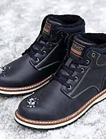 Недорогие -Муж. Fashion Boots Кожа Наступила зима На каждый день Ботинки Для пешеходного туризма Сохраняет тепло Сапоги до середины икры Черный / Коричневый / Темно-синий