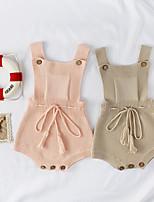 Недорогие -3 предмета малыш Девочки Активный / Уличный стиль Однотонный Открытая спина / Бант / С кисточками Без рукавов Bodysuit Розовый