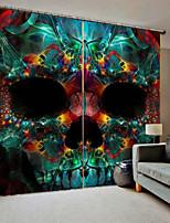 Недорогие -странные черепа фон шторы уф цифровая печать занавес плотные влагостойкие ткани занавес для гостиной / спальни