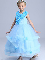 Недорогие -Дети Девочки Однотонный Макси Платье Светло-синий