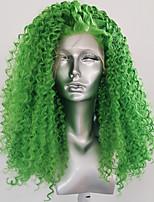 Недорогие -Синтетические кружевные передние парики Kinky Curly курчавый Стиль Свободная часть Лента спереди Парик Зеленый Искусственные волосы 18-26 дюймовый Жен. Женский синтетический Зеленый Парик Длинные