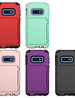 Недорогие -Кейс для Назначение SSamsung Galaxy Galaxy S10 Бумажник для карт / Защита от удара Кейс на заднюю панель Однотонный ПК / силикагель