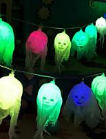 Недорогие -2.5 м 10 светодиодов теплый белый свет строка хэллоуин из светодиодов белая пряжа череп фонарь батареи хэллоуин украшения поделки лампа