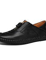 Недорогие -Муж. Кожаные ботинки Наппа Leather Осень / Весна лето На каждый день Мокасины и Свитер Дышащий Черный / Коричневый / Хаки