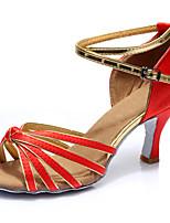 Недорогие -Жен. Танцевальная обувь Сатин Обувь для латины На каблуках Тонкий высокий каблук Персонализируемая Красный / Выступление