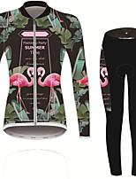 Недорогие -21Grams Фламинго Цветочные ботанический Жен. Длинный рукав Велокофты и лосины - Травянисто-зелёный Велоспорт Наборы одежды Устойчивость к УФ Дышащий Влагоотводящие Виды спорта Зима Спандекс
