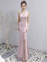 cheap -Mermaid / Trumpet V Neck Floor Length Spandex See Through Formal Evening Dress with Appliques by LAN TING Express