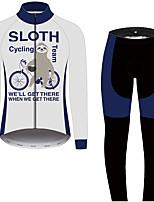 Недорогие -21Grams Животное леность Муж. Длинный рукав Велокофты и лосины - Черный / Белый Велоспорт Наборы одежды Устойчивость к УФ Дышащий Влагоотводящие Виды спорта 100% полиэстер Горные велосипеды Одежда