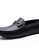 Недорогие -Муж. Кожаные ботинки Кожа Осень / Весна лето На каждый день Мокасины и Свитер Нескользкий Черный / Белое / серебро / Тёмно-синий