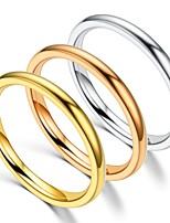 Недорогие -Для пары Кольца для пар Кольцо Хвост 1шт Золотой Серебряный Розовое золото Нержавеющая сталь Круглый Винтаж Классический Мода обещание Бижутерия