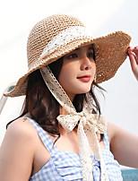 Недорогие -Жен. Активный Классический Симпатичные Стиль Соломенная шляпа Шляпа от солнца Солома,Контрастных цветов Все сезоны Бежевый Хаки