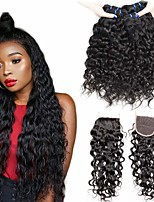 Недорогие -3 комплекта с закрытием Бразильские волосы Волнистые Натуральные волосы Необработанные натуральные волосы Головные уборы Человека ткет Волосы Удлинитель 8-20 дюймовый Естественный цвет