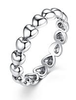 Недорогие -Дисиния серебристого цвета 4мм от сердца к сердцу гладкая поверхность дешевые кольца женские свадебные украшения 3 размера оптом pa7219