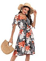 Недорогие -Жен. Классический Уличный стиль С летящей юбкой Платье - Геометрический принт, С принтом Средней длины