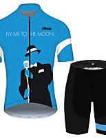 Недорогие -21Grams Лети ко мне на Луну Муж. С короткими рукавами Велокофты и велошорты - Черный / синий Велоспорт Наборы одежды Дышащий Быстровысыхающий Со светоотражающими полосками Виды спорта 100% полиэстер