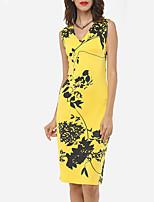 Недорогие -Жен. Классический Желтый Красный Комбинезоны, Цветочный принт С принтом S M L