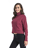 cheap -Women's Basic Pocket Knitted Solid Color Plain Pullover Long Sleeve Sweater Cardigans Turtleneck Fall Winter Black Blue Purple