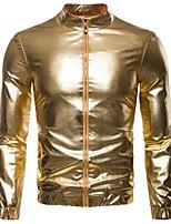 Недорогие -Муж. Повседневные Размер ЕС / США Обычная Куртка, Однотонный Воротник-стойка Длинный рукав Полиэстер Золотой / Серебряный