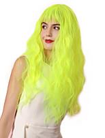 Недорогие -Парики из искусственных волос Чёлки Кудрявый Волнистые Стиль Аккуратная челка Без шапочки-основы Парик Золотистый флуоресцентный зеленый Искусственные волосы 26 дюймовый Жен.