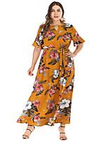 Недорогие -Жен. Классический Богемный С летящей юбкой Платье - Цветочный принт, Шнуровка С принтом Макси